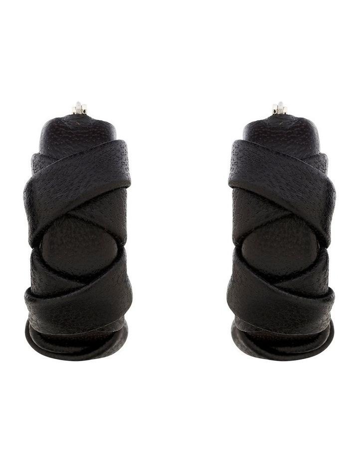 Leather Weave Hoop Earring image 1
