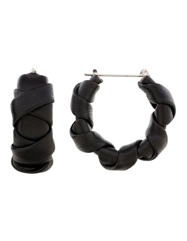 Leather Weave Hoop Earring image 2