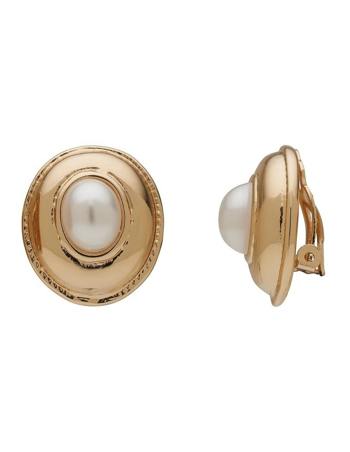 Pearl Button Vintage Clip On Earring image 2