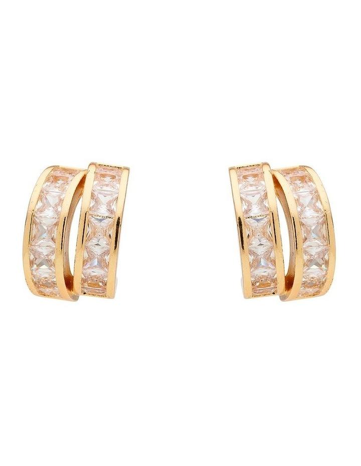 Duo Loop Gold Crystal Stud Earring image 1