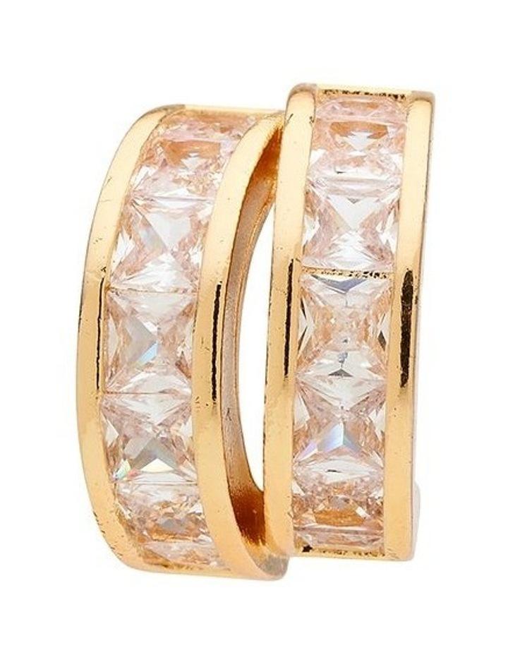 Duo Loop Gold Crystal Stud Earring image 3
