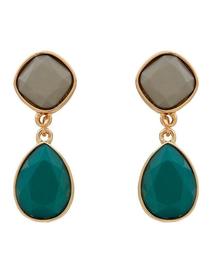 Two Tone Stone Drop Clip On Earring image 1