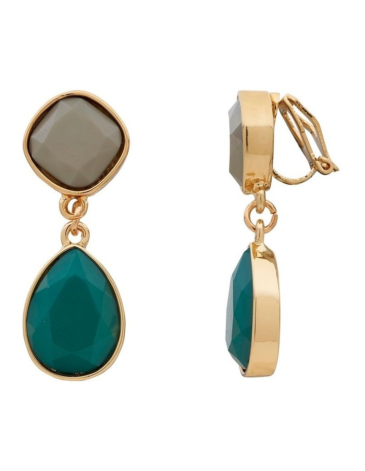 Two Tone Stone Drop Clip On Earring image 2