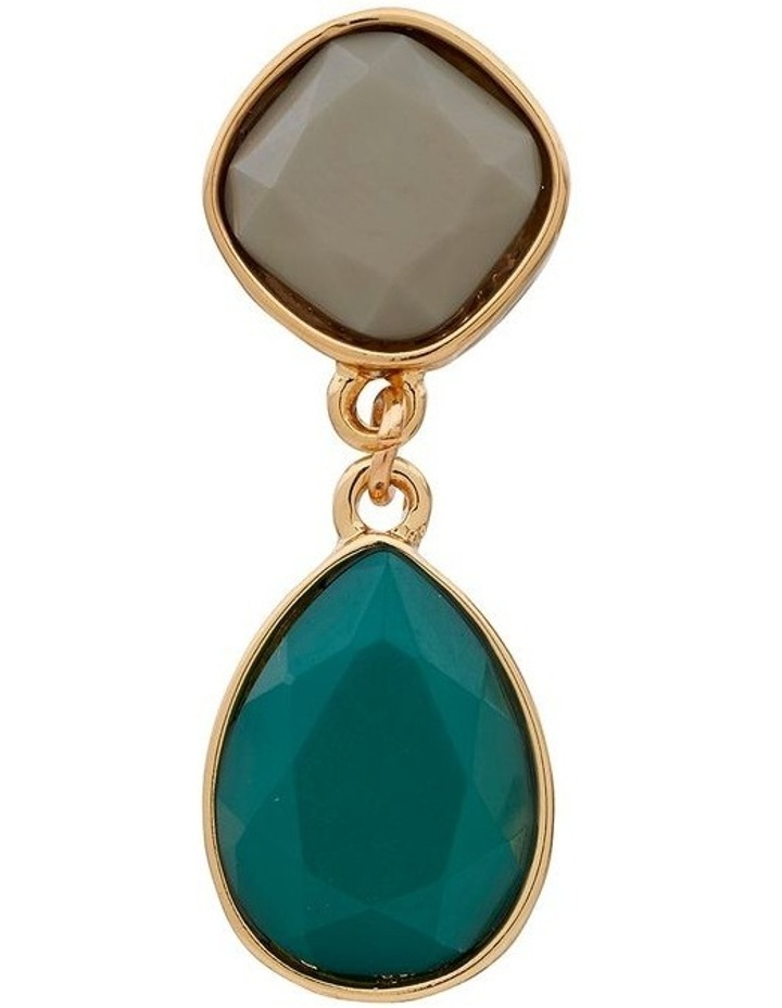Two Tone Stone Drop Clip On Earring image 3