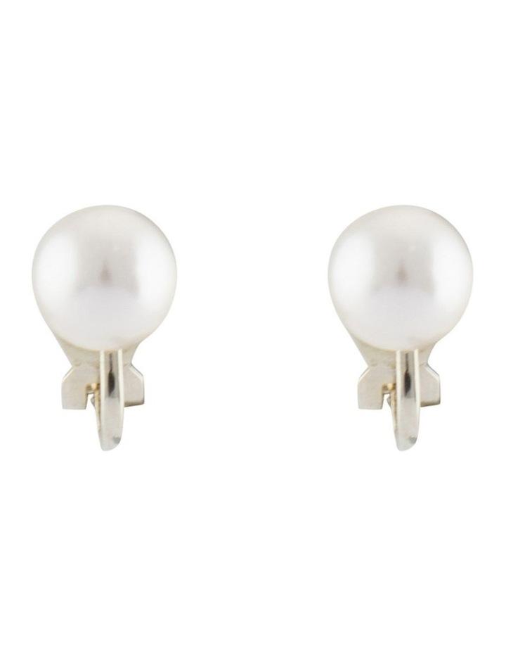 8mm Pearl Clip Earrings image 1