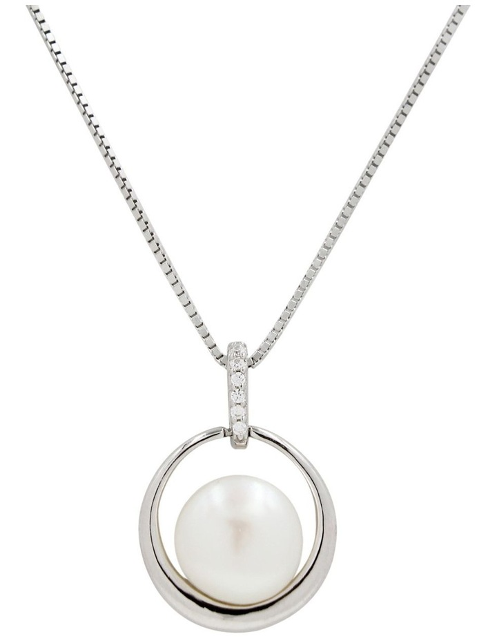 Silver Freshwater Pearl CZ Pendant and Chain - 45cm image 2