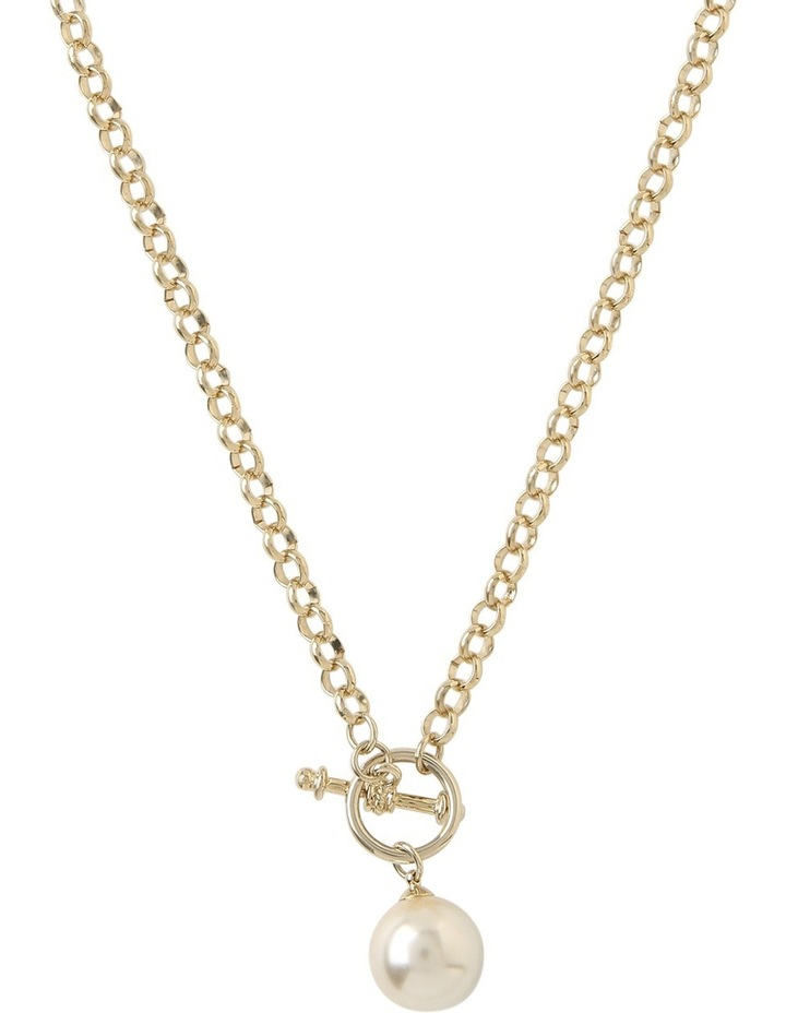 Chain Faux Pearl Fob Necklace Gjnl012M image 1