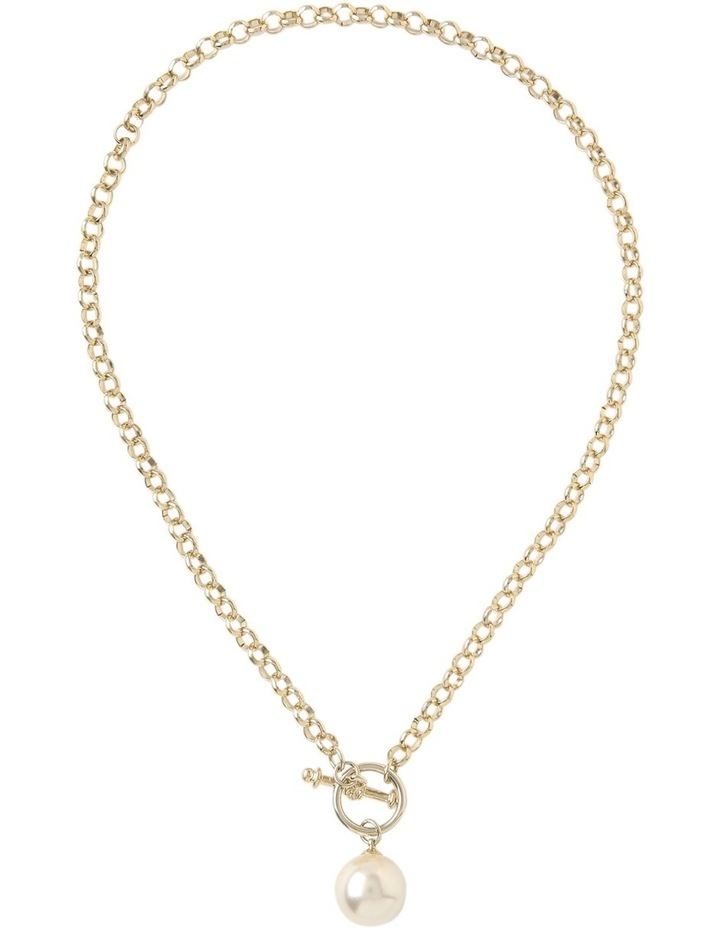 Chain Faux Pearl Fob Necklace Gjnl012M image 2