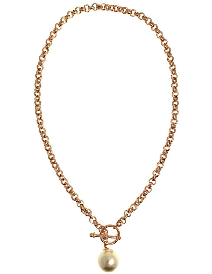 Chain Faux Pearl Fob Necklace image 1