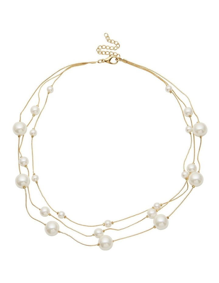 Multi Strand Pearl Station Necklace image 1