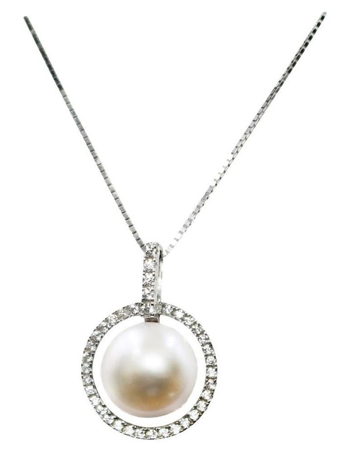 Brilliant Halo Pearl Pendant Necklace image 1