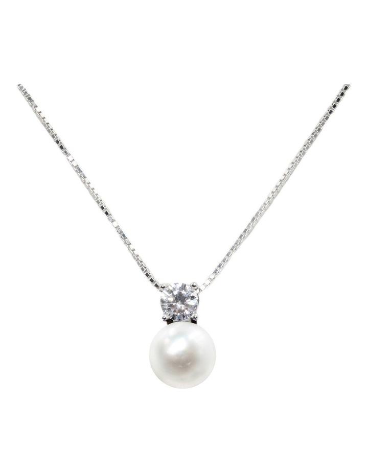 Simply Brilliant Pearl Pendant White Necklace image 1