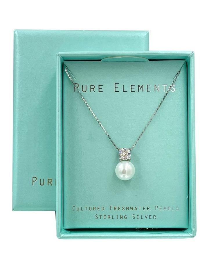 Simply Brilliant Pearl Pendant White Necklace image 3