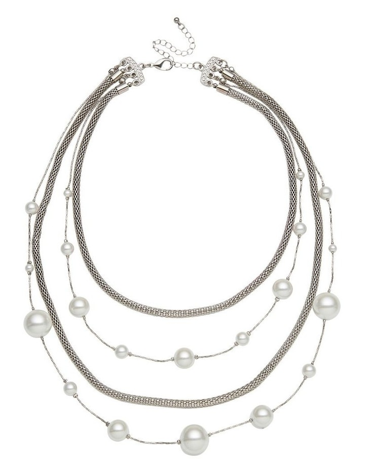 Layer Pearl & Chain Necklace image 1