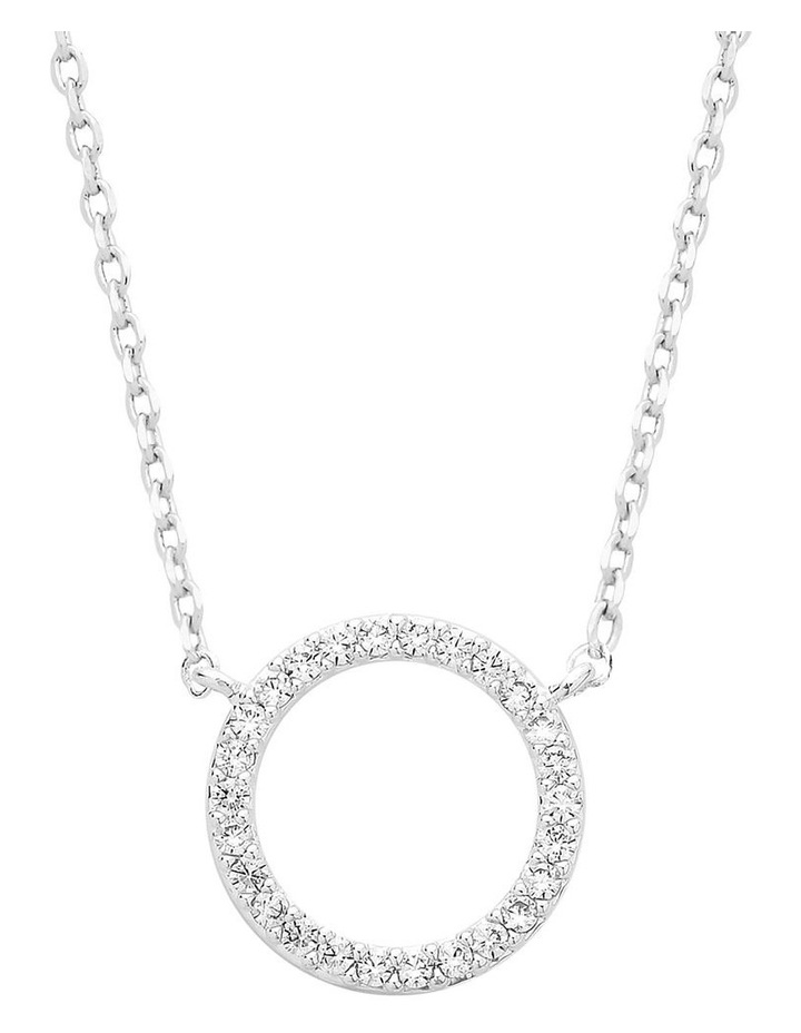 Large Pave Set Circle Cubic Zirconia Silver Necklace image 1