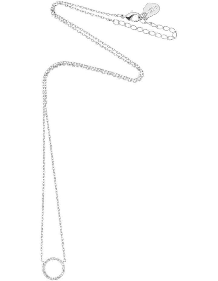 Large Pave Set Circle Cubic Zirconia Silver Necklace image 2