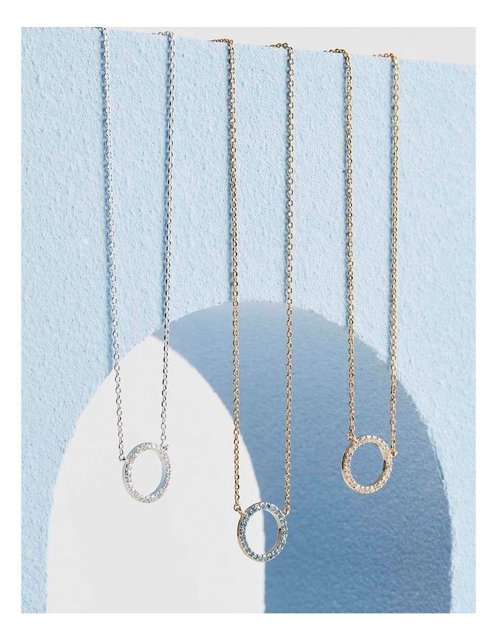 Large Pave Set Circle Cubic Zirconia Silver Necklace image 4