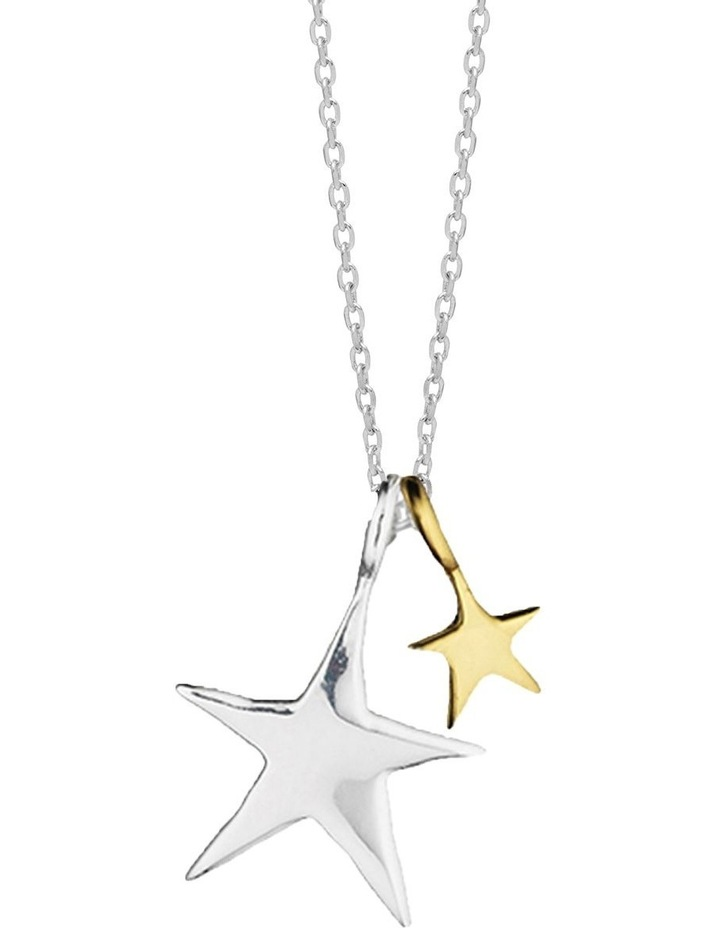 Two Tone Double Star Necklace - Silver Plated image 1