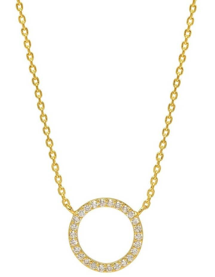 Large Pave Set CZ Circle Necklace image 1