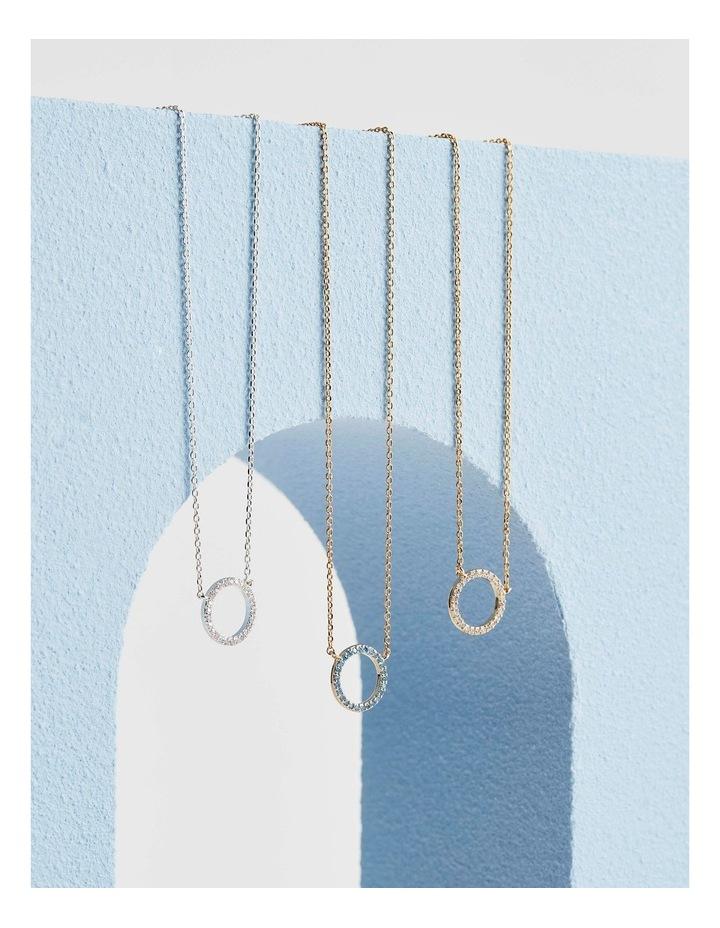 Large Pave Set CZ Circle Necklace image 4