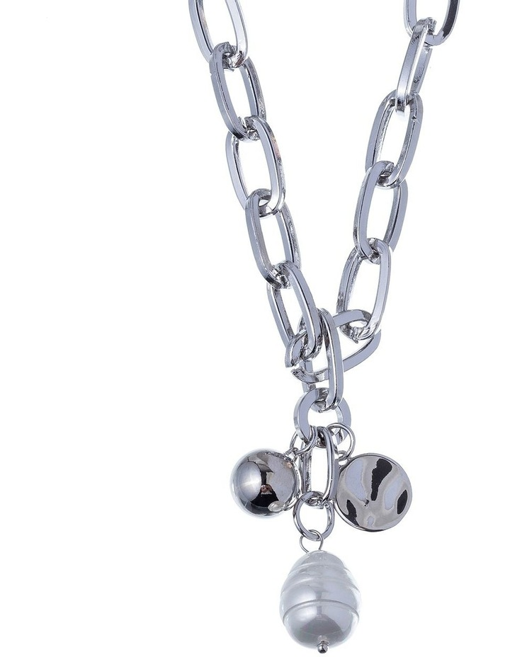 RHODIUM CHAIN WITH PEARL image 2