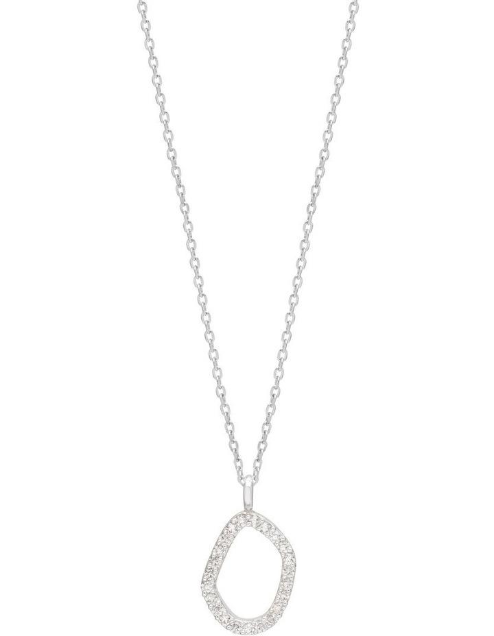 Pave Set Organic Circle Silver Necklace image 1