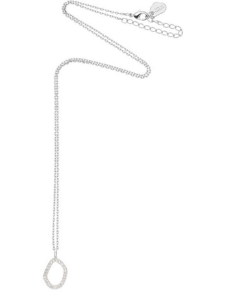 Pave Set Organic Circle Silver Necklace image 3
