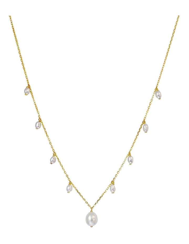 14Ct Gold Plate White Pearl Charm Necklace image 1