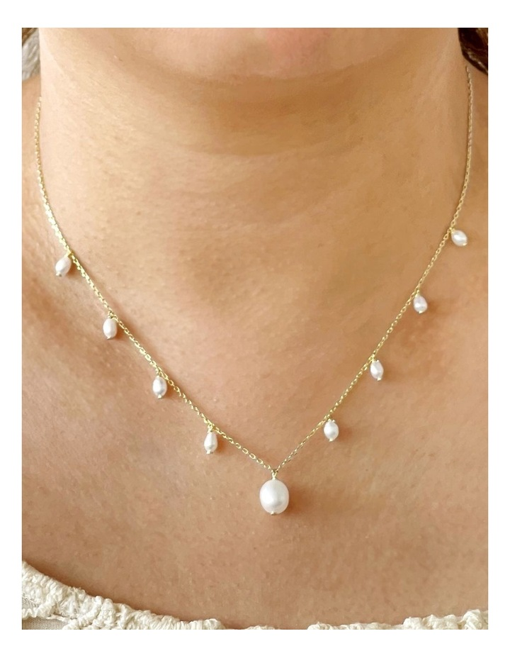 14Ct Gold Plate White Pearl Charm Necklace image 2