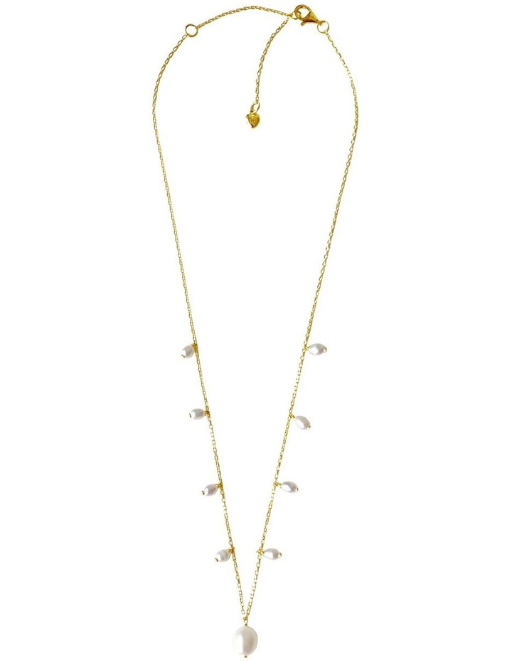 14Ct Gold Plate White Pearl Charm Necklace image 3