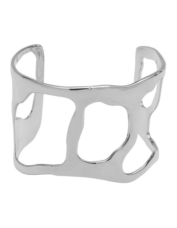 Irregular Form Silver Open Cuff Bracelet image 1