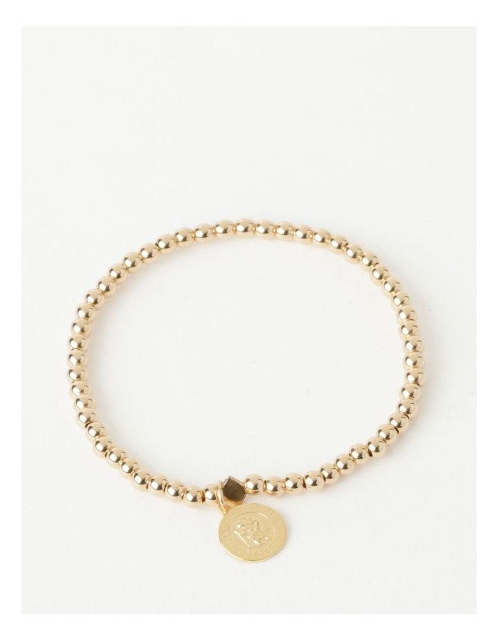 Round St Christopher Charm Gold Stretchy Bracelet image 1