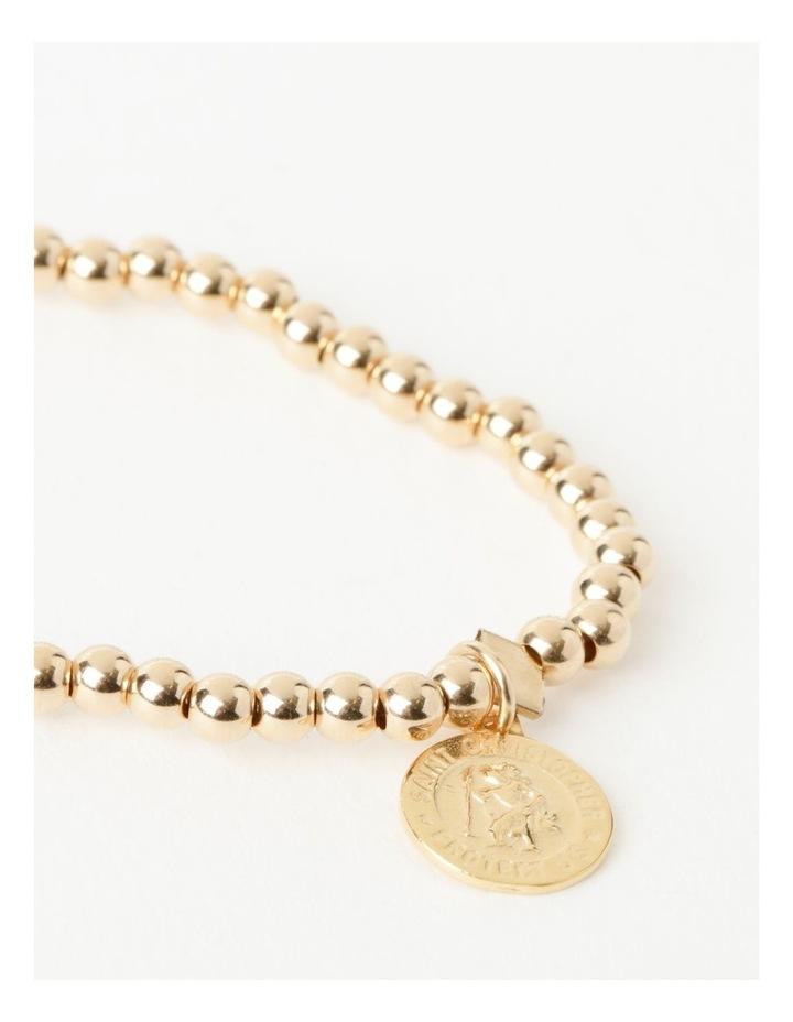 Round St Christopher Charm Gold Stretchy Bracelet image 2