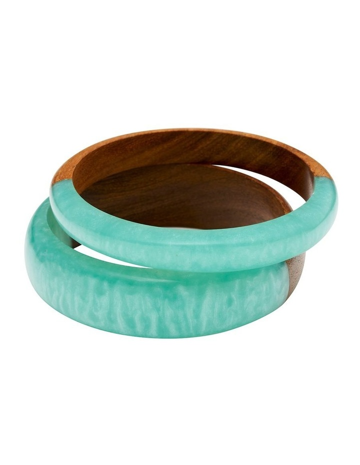 Wood & Resin Blue Bangle Set image 1