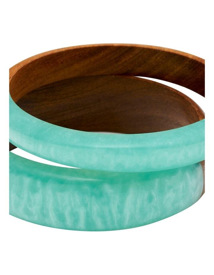 Wood & Resin Blue Bangle Set image 2