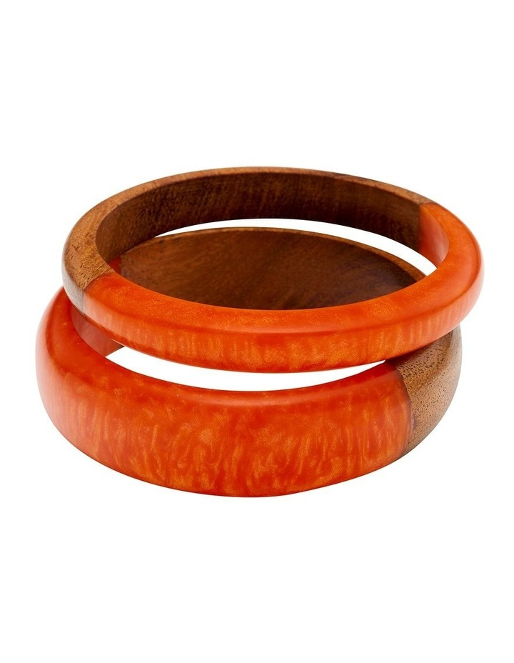 Wood & Resin Coral Bangle Set image 1