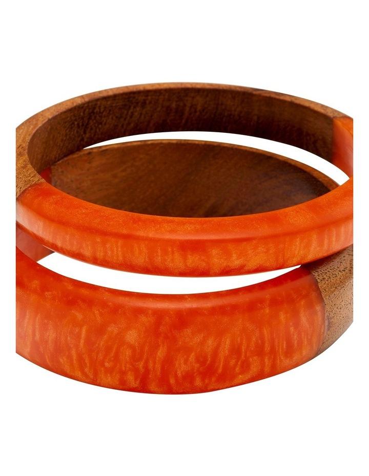 Wood & Resin Coral Bangle Set image 2