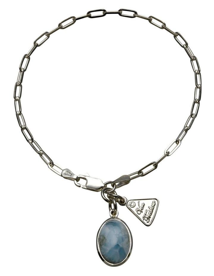 Fine Clip Oval Larimar Silver Chain Bracelet image 1