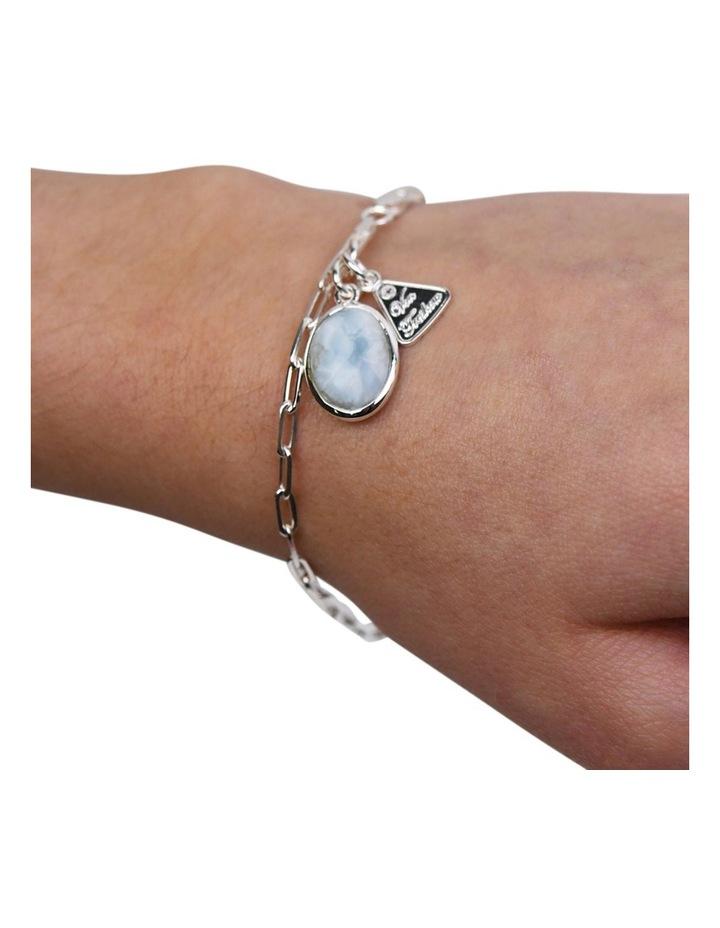 Fine Clip Oval Larimar Silver Chain Bracelet image 2