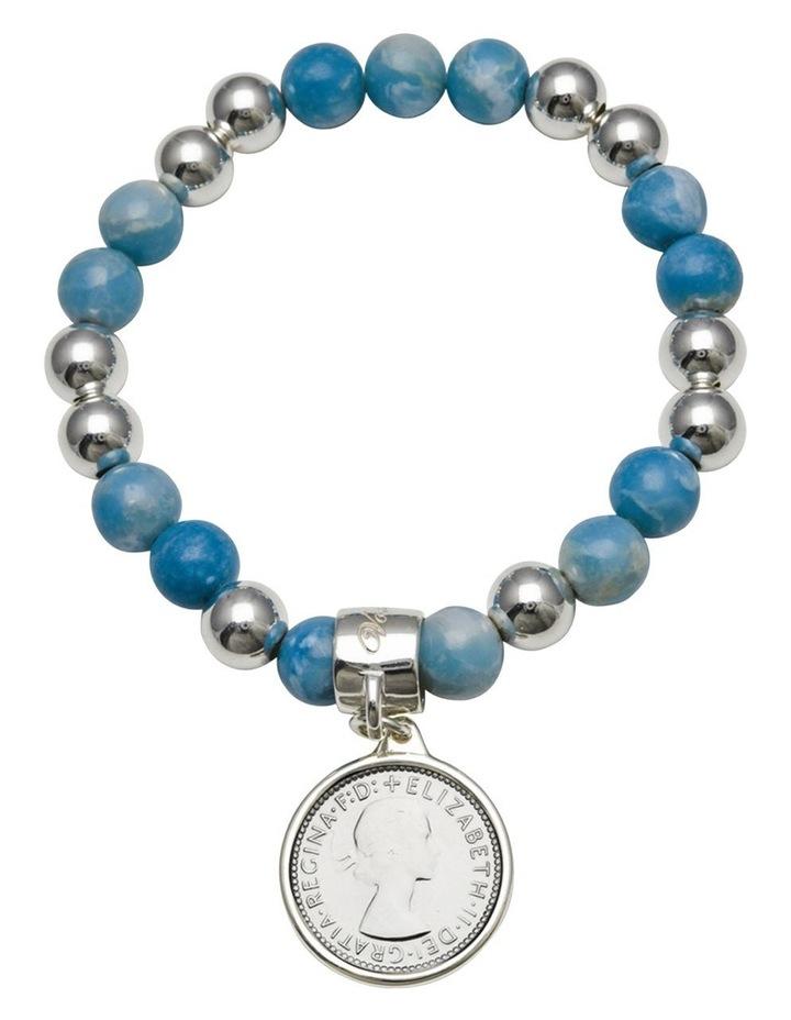 Larimar Sixpence Coin Stretchy Bracelet image 1