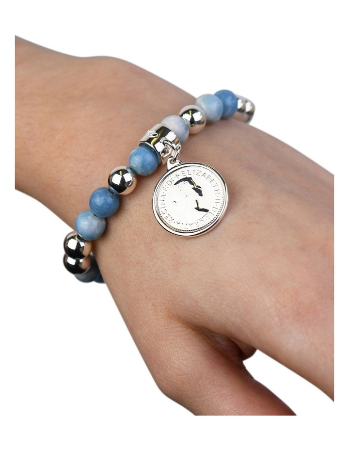 Larimar Sixpence Coin Stretchy Bracelet image 2