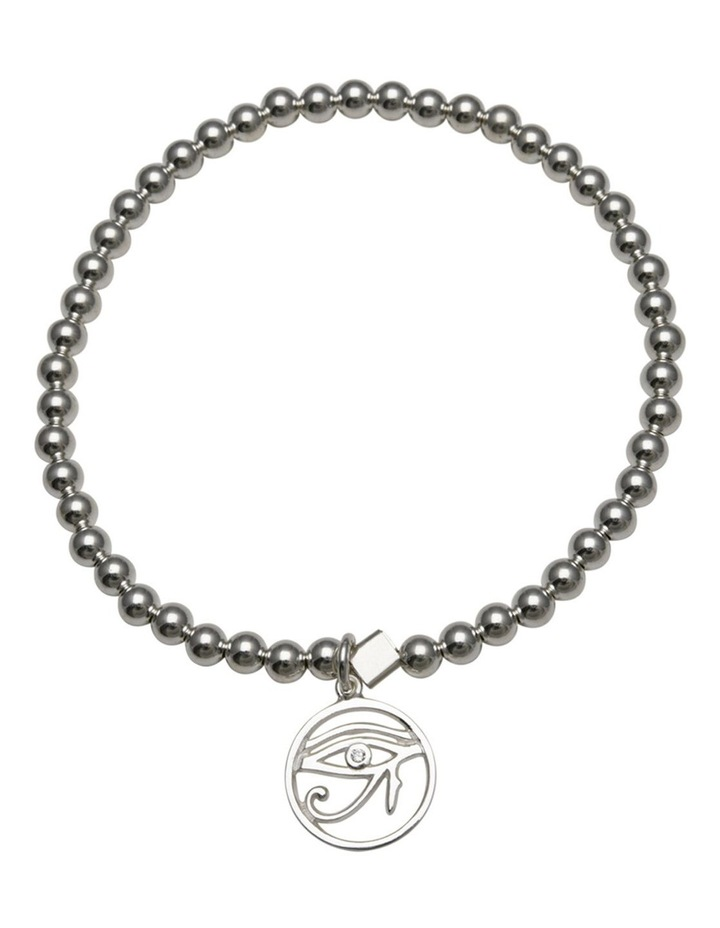 Eye Of Horus Stretchy Silver Bracelet image 1