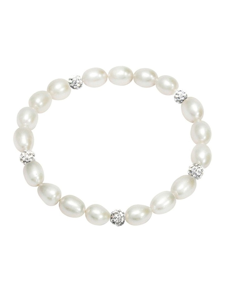 Freshwater Pearl and Crystal Roundels Stretch Bracelet image 2
