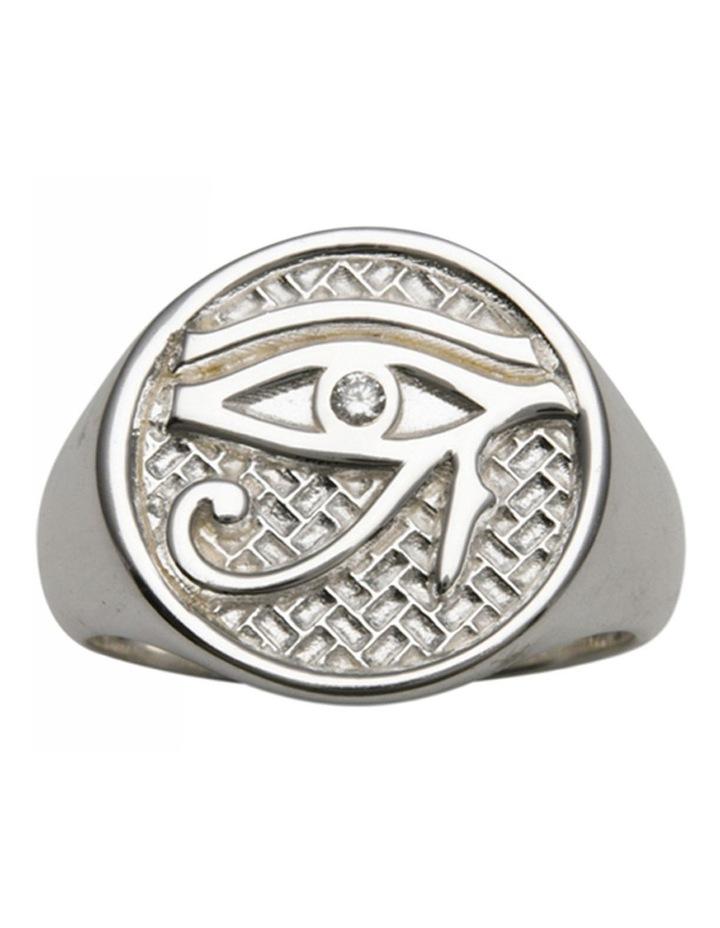 Eye Of Horus Signet Silver Ring image 1