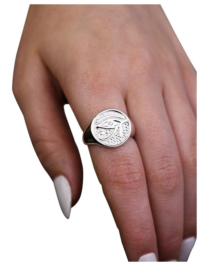 Eye Of Horus Signet Silver Ring image 2