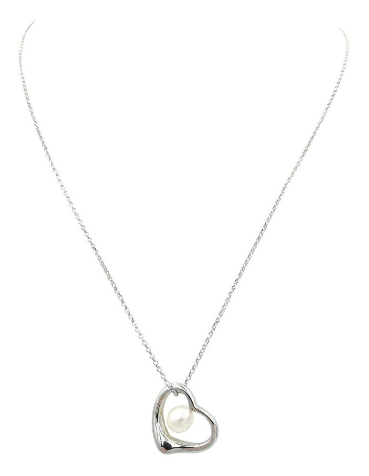 With Love Open Heart Pendant Silver/White Necklace image 1