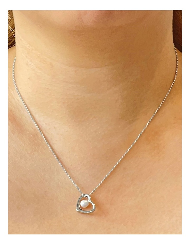 With Love Open Heart Pendant Silver/White Necklace image 2