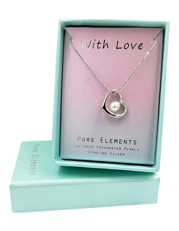 With Love Open Heart Pendant Silver/White Necklace image 3