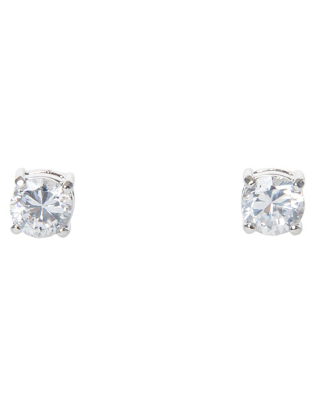 6mm Cubic Zirconia Round Stud Earring image 1