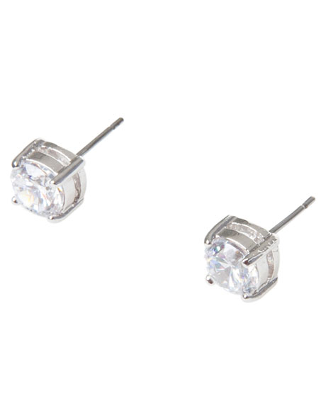 6mm Cubic Zirconia Round Stud Earring image 2